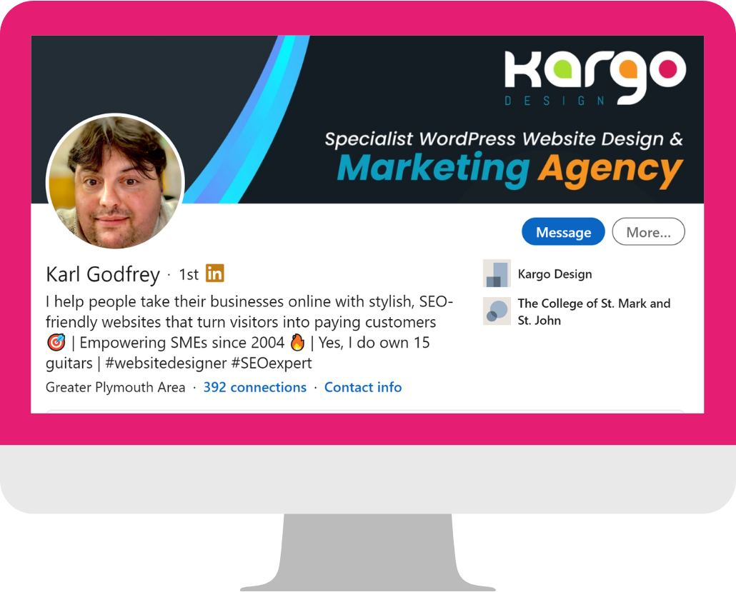 Karl Godfrey LinkedIn Profile Headline Example