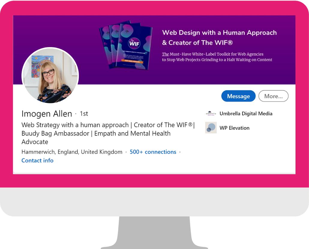 Imogen Allen LinkedIn Profile Example